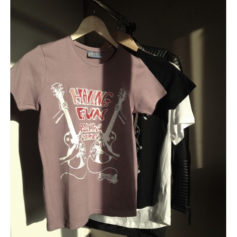 t shirt let's play the guitar  violet