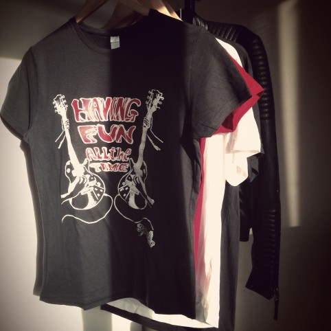 t shirt let's play the guitar used black